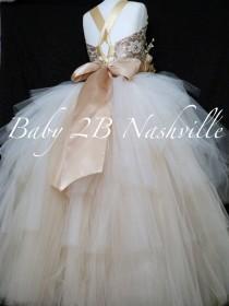 wedding photo - Gold Dress Burlap Dress Rustic Dress Flower Girl Dress Wedding Dress Lace Dress Toddler Tutu Dress Girls Dress Ombre Dress Party Dress