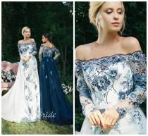 wedding photo - Alternative ivory wedding dress with floral 3D guipure. Dress with open shoulders and a long sleeve. Prom blue dress in 3D flowers.
