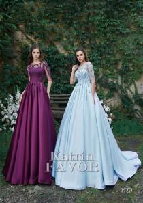 wedding photo - Blue Wedding Dress Embroidered Dress Alternative Wedding Dress Beaded Evening Gown Wedding Guest Dress Formal Dress Prom Dress Long Sleeve
