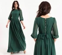 wedding photo - Emerald Maxi Dress With Pearl Buttons And Sleeves / Women formal chiffon closed dress / Green wedding party long gown / Floor length dress
