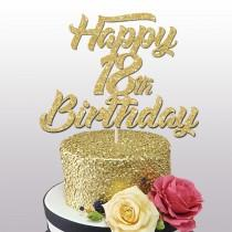 wedding photo - Happy 18th Birthday glitter cake topper, 18th birthday cake decoration, 18th, 21st,30th