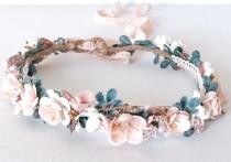 wedding photo - Blush Flower Crown, Floral Headband- Bridal Crown, Baby Flower Crown, Wedding Flower Crown, Flower Girl