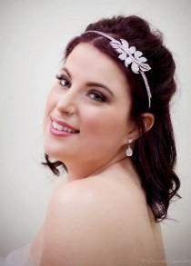 wedding photo - DISCOUNTED ~ Bridal Headband ~ Swarovski Crystal ~ Rhinestone ~ Bridesmaid ~ Forehead Band ~ Vintage Bridal ~ Leaves ~ Headpiece Heaven