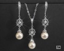 wedding photo - Pearl Bridal Jewelry Set, Earrings&Necklace Jewelry Set, Swarovski 8mm White Pearl Wedding Set, Pearl Wedding Jewelry Set, Bridal Jewelry