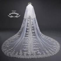 wedding photo - Cathedral Ivory Wedding Veil with Embroidery,Ivory Bridal Veil-Ivory Veil,Chapel Veil,Ivory Wedding Veil with comb, Embroidered Blusher Veil