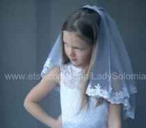 wedding photo - First Communion Veil  with sequins, 2 tier communion veil, Little girls veil, Flower girl veil, First Holy Communion, Communion Accessory