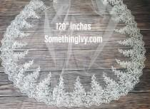 """wedding photo - Fast Ship - 120"""" Beaded CathedralLace Wedding Veil  - Long Veils - 120"""" inches long - Lace Cathedral Veil, Veils With Lace"""