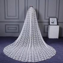 wedding photo - Cathedral Ivory Wedding Veil with Embroidery,Ivory Bridal Veil-Ivory Veil,Chapel Veil,Ivory Wedding Veil with comb,Feather detailed veil