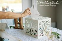 wedding photo - Wedding Card Box BIG SIZE-Wedding Gift-Plywood box-White Keepsake Box-Wedding money box-Wedding card money holder-Drop Box-Monogram Card Box