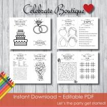 wedding photo - Wedding Coloring Book for Kids Editable Activity Book Instant Download Coloring Book Children's Activity Book Wedding Activity Book for Kids