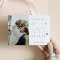 wedding photo - Calendar Save the Date Template Editable invite Simple and Modern save our date invitation Templett Calligraphy DIY instant download #10