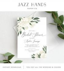 wedding photo - Bridal Shower Invitation Template, Editable Invite Template, Instant Download, Greenery and White Floral, 137V12