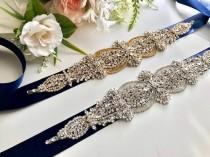 wedding photo - Navy Bridal Belt, Blue Bridal Belt Sash