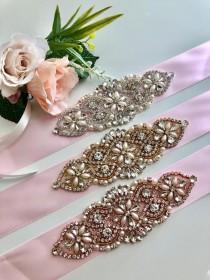 wedding photo - Pink Bridal Sash, Pink Wedding Belt