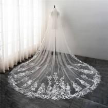 wedding photo - Cathedral Wedding Veil with Embroidery,Light Ivory Bridal Veil-Ivory Veil,Chapel Veil in light Ivory Wedding Veil, Embroidered Wedding Veil