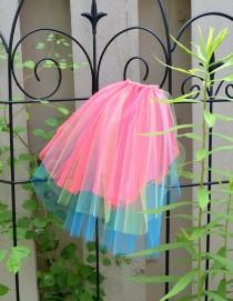wedding photo - Bright Neon Veil Bachelorette Offbeat Wedding - hot pink red / lime green / blue -Hen Stagette Party rainbow