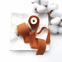 wedding photo - BURNT ORANGE cotton ribbon Invitation wedding ribbon Satin ribbon Gift wedding wrapping