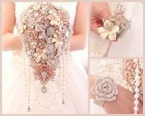 wedding photo - Extra long rose gold silver brooch bouquet