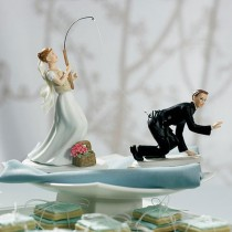 wedding photo - Catch Of The Day Fishing Couple Wedding Cake Topper With Custom Hair Colors