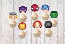 wedding photo - 14 Tsum Tsum Avengers Cupcake Toppers - Super Hero Cupcake Toppers - Avengers Birthday -  Party - Wedding - Baby Sower,