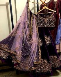 wedding photo - On Sale Heavy embroidery work Purple VISCOSE lehenga choli Indian Pakistan wedding bridal lehenga Ghagra choli chaniya choli