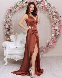 wedding photo - Rust Satin Silk Bridesmaid Dress Maxi Flared Gown