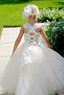 wedding photo - Flower Girl dress with lace overlay! Vintage dress with train. Mini Bride dress 6m-12 girls. Custom colors available.