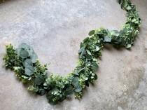 wedding photo - Eucalyptus boxwood Garland 6.5 feet artificial / Flower arch / Greenery table runner / Wedding Garland / Greenery Garland / Wedding Backdrop