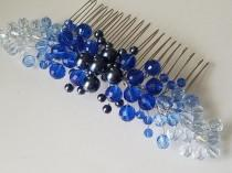 wedding photo - Blue Sapphire Bridal Hair Comb, Blue Hair Piece, Wedding Blue Hair Jewelry, Blue Crystal Hair Piece, Something Blue, Royal Blue Crystal Comb