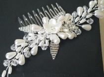 wedding photo - Pearl Bridal Hair Comb, Wedding Pearl Hair Piece, Bridal White Pearl Crystal Comb, Pearl Hair Jewelry, Hair Accessories, Pearl Headpiece