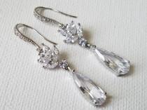 wedding photo - Teardrop Crystal Earrings, Cubic Zirconia Bridal Earrings, Cubic Zirconia Silver Dangle Earrings, Bridal Jewelry, Bridal Sparkly Earrings