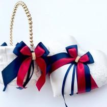 wedding photo - Flower Girl Basket and Ring Bearer Pillow Set in Marsala Red and Navy Blue Color