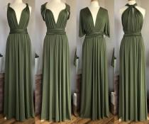 wedding photo - LIGHT OLIVE GREEN Bridesmaid Dress/ Custom Length / Convertible Dress / Infinity Dress/ Multiway Dress/  Multi Wrap Dress / Plus Size /