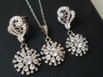 wedding photo - Crystal Bridal Jewelry Set, Cubic Zirconia Earrings Necklace Set, Wedding Crystal Jewelry, Zirconia Earrings, Crystal Pendant Bridal Jewelry