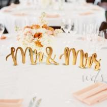 wedding photo - Mr and Mrs Sign, 5in. Gold Metallic Vintage Script Sweetheart table wedding reception centerpiece table decor calligraphy-  Free Shipping!