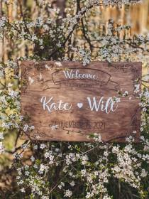 wedding photo - Custom Wedding Welcome Sign Wood