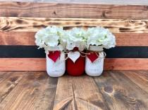 wedding photo - Valentines Day Decor - Painted Mason Jars Rustic Centerpieces Bulk Mason Jars Rustic Home Decor Custom Mason Jar