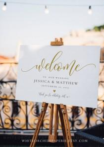 wedding photo - Script Welcome Sign, Wedding Welcome Sign, Welcome Sign Wedding, Welcome Sign Printable, Sign Template Gold, Fully Editable, #19717