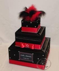 wedding photo - Black and Red Wedding Card Box-BLACK and RED Feather topper-rhinestone accents