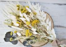 wedding photo - Yellow Meadow Bouquet, Wild Flower Bride Bouquet Yellow and White, Dried Flowers Arrangement, Country Bouquet, Preserved Flower Home Decor.