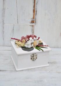 wedding photo - Wedding Ring Bearer Box with Preserved Flowers, Romantic Wedding Ceremony, Pink burgundy Wood Ring Box, Engagement Box, Ring Holder.