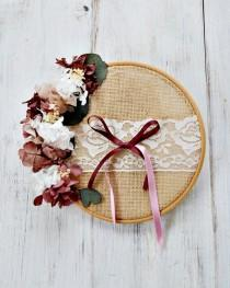 wedding photo - Wedding Ring Holder Embroidery Frame, Preserved flower Wreath for Wedding Ceremony, Original Floral Ring Pillow, Burlap Ring Hoop.
