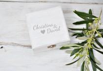 wedding photo - Light Gray Wedding Ring Box, Ring Bearer Box, Personalized Rustic Wood Ring Box, Wedding Gray Palette.