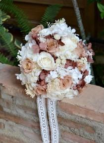 wedding photo - Preserved Flower Bridal Bouquet White and Garnet, Keepsake bouquet.
