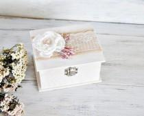 wedding photo - Romantic White Ring Bearer Box, Flower Wedding Ring Box, Personalized Rustic Wedding Ring Holder, Proposal Ring Box, Wood Ring Bearer Box.