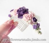wedding photo - Purple and Pink Flower Comb, Cottage Shic Purple Bridal Headpiece, Romantic Bridal Comb, Purple Bridal Hair Flower, Rustic Style Hair Comb.