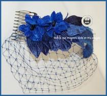 wedding photo - Velvet flowers and veil headdress, Guest wedding headpiece
