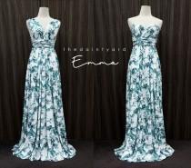 wedding photo - TDY Emma Maxi Floral Infinity Dress Convertible Dress Multiway Dress Long Ball Gown Wrap Dress Summer Green Floral Bridesmaid Dress