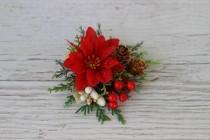wedding photo - Greenery Christmas flower clip, Winter wedding headpiece, Poinsettia hair clip