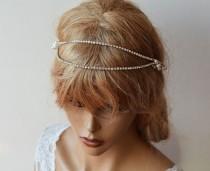 wedding photo - Rhinestone Bridal Forehead band, Wedding Hair Accessories, Rhinestone and Pearl headband, Hair Vine, Bridal Hair Piece, Vine Halo Headpiece